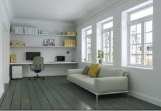 Ministero degli Interni giallo bianco moderno con la rappresentazione di interior design 3d del sofà Fotografia Stock Libera da Diritti