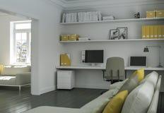 Ministero degli Interni giallo bianco moderno con la rappresentazione di interior design 3d del sofà Immagini Stock Libere da Diritti