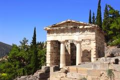 Ministero del Tesoro ateniese, Delfi, Grecia Fotografia Stock