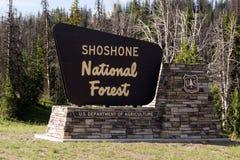 Ministero dell'agricoltura degli Stati Uniti della foresta nazionale della shoshone del segno positivo Fotografie Stock Libere da Diritti