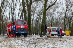 Ministero della squadra e della brigata dell'ambulanza delle situazioni di emergenza alla v Fotografia Stock