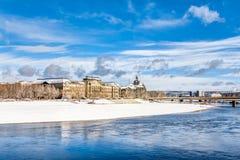 Ministero delle finanze a Dresda nell'inverno Fotografia Stock