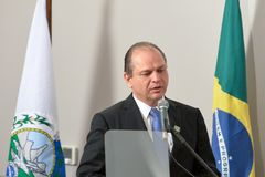 Ministers of Health, Ricardo Barros. Rio de Janeiro, Brazil - september 15, 2017: Ministers of Health, Ricardo Barros during Inauguration at the radiosurgery Stock Photos