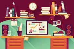 Ministerstwa Spraw Wewnętrznych biurko - płaski projekt, długi cień, pracy biurko, komputer Zdjęcia Royalty Free