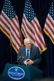 Ministre des Finances Henry Paulson à la bibliothèque de Reagan Images libres de droits