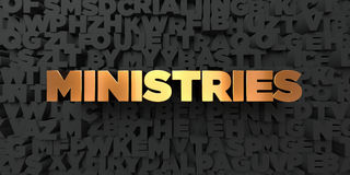 Ministries - Gold text on black background - 3D rendered royalty free stock picture Royalty Free Stock Photos
