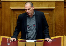 Ministro das Finanças Yanis Varoufakis de Grécia Fotografia de Stock
