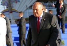 Ministro de asuntos exteriores de Egipto Sameh Hassan Shoukry Fotos de archivo libres de regalías