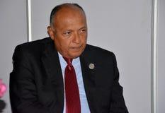 Ministro de asuntos exteriores de Egipto Sameh Hassan Shoukry Foto de archivo