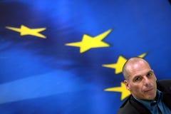 Ministro de la Hacienda de Grecia Yanis Varoufakis durante una prensa común Foto de archivo libre de regalías