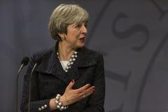 Ministro de Theresa May Visits Danish Prime en Copepenhagen imagenes de archivo