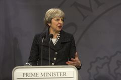 Ministro di Theresa May Visits Danish Prime in Copepenhagen fotografie stock