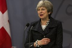 Ministro di Theresa May Visits Danish Prime in Copepenhagen immagini stock