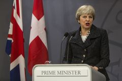 Ministro di Theresa May Visits Danish Prime in Copepenhagen fotografia stock