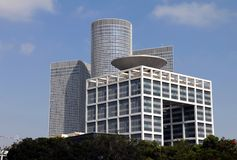 Ministry of Defense of Israel. Ministry of Defense  of Israel on Azrieli center and blue sky background Stock Photos