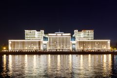 Ministry of Defense of the Russian Federation at night. Russia Moscow Stock Images