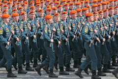 Ministry of Emergency Situations army. MOSCOW - MAY 09: Celebration of the 66 anniversary of the Victory Day (WWII) on Red Square on May 9, 2011 in Moscow stock photography