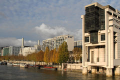 Ministry of Finance in Bercy district and Seine river Royalty Free Stock Photography