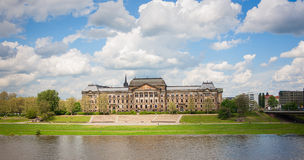 Ministry of Finance and Saxon State. Chancellery buildings over Elbe river in Dresden, Germany Royalty Free Stock Image