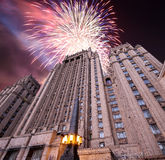 Ministry of Foreign Affairs of the Russian Federation and fireworks, Moscow, Russia Stock Image