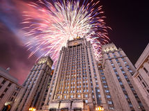 Ministry of Foreign Affairs of the Russian Federation and fireworks, Moscow, Russia Stock Images