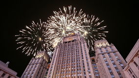 Ministry of Foreign Affairs of the Russian Federation and fireworks, Moscow, Russia stock footage