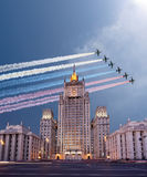 Ministry of Foreign Affairs of the Russian Federation and Russian military aircrafts fly in formation, Moscow Stock Images