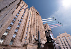 Ministry of Foreign Affairs of the Russian Federation and Russian military aircrafts fly in formation, Moscow Stock Photography