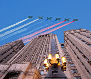 Ministry of Foreign Affairs of the Russian Federation and Russian military aircrafts fly in formation, Moscow, Russia.  royalty free stock images