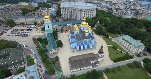 Ministry of Foreign Affairs Saint Michaels Cathedral of Kyiv cityscape of Ukraine stock video