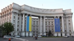 Ministry of Foreign Affairs of Ukraine. A building of the Ministry of Foreign Affairs of Ukraine in Kyiv stock video