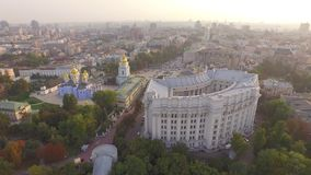 Ministry of Foreign Affairs of Ukraine near the Dnieper river. Aerial view stock video footage