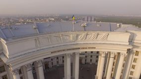 Ministry of Foreign Affairs of Ukraine near the Dnieper river. Aerial view stock video