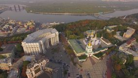 Ministry of Foreign Affairs of Ukraine near the Dnieper river. Aerial view stock footage