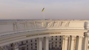 Ministry of Foreign Affairs of Ukraine near the Dnieper river. Aerial view. Aerial footage of Ukraine's Ministry of Foreign Affairs. Different shots stock video footage