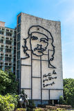 Ministry of the Interior building with face of Che Guevara located in Revolution Square, Cuba.  Royalty Free Stock Image