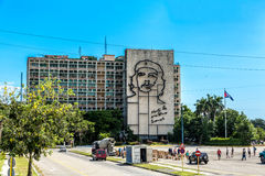 Ministry of the Interior building with face of Che Guevara located in Revolution Square, Cuba Stock Photos
