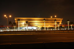 Ministry of Interior of Qatar. The main seat of the Ministry of Interior in Doha, the capital city of Qatar, at night. The Ministry is located next to the city's Stock Image