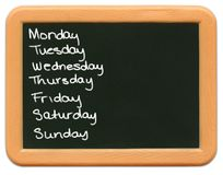 Minitafel des Kindes - Tage der Woche Lizenzfreies Stockbild