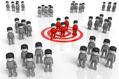 MiniToy Target Group. 3D rendered illustration of MiniToy groups, with a central red group standing over a red target symbol Royalty Free Stock Photos