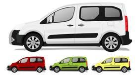 Minivan. Typical minivan, sidewiev, 4 colors Stock Illustration
