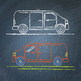 Minivan car sketch on chalkboard Royalty Free Stock Photos