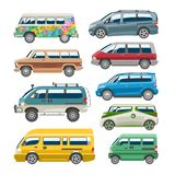 Minivan car vector van auto vehicle family minibus vehicle and automobile banner isolated citycar on white background. Illustration Royalty Free Stock Image