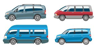 Minivan car vector van auto vehicle family minibus vehicle and automobile banner  citycar on white background. Illustration Stock Photography