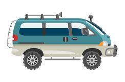 Minivan car vector van auto vehicle family minibus vehicle and automobile banner isolated citycar on white background. Illustration Royalty Free Stock Images