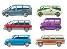 Minivan car vector van auto vehicle family minibus vehicle and automobile banner isolated citycar on white background. Illustration Royalty Free Stock Photo