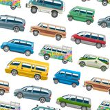 Minivan car vector van auto vehicle family minibus vehicle and automobile banner isolated citycar on white seamless. Pattern background Stock Image