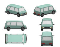 Minivan. 3d low model car minivan Stock Illustration