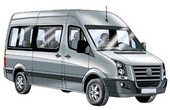 Minivan economy class vehicle drawing a minivan commercial motor transportation Stock Image