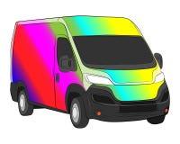 Minivan with rainbow aerography vector drawing stock illustration